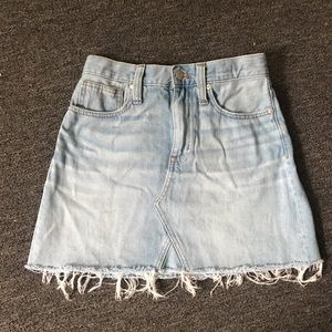 MADEWELL light washed A line denim skirt